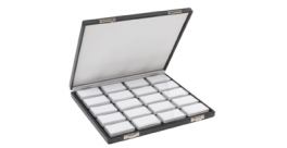 DISPLAY BOX FOR LOOSE STONES with 20 rectangular white inserts